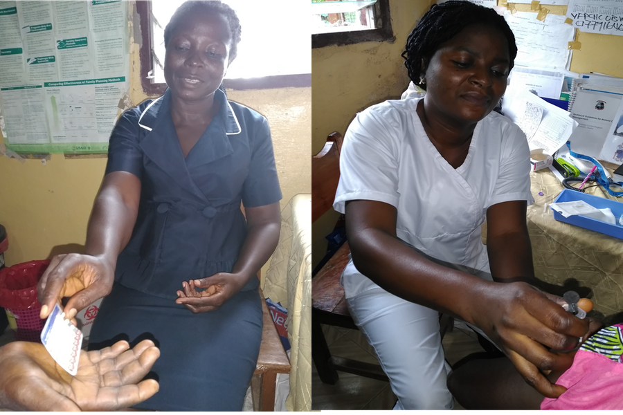 A nurse and midwife in Liberia provide family planning services.