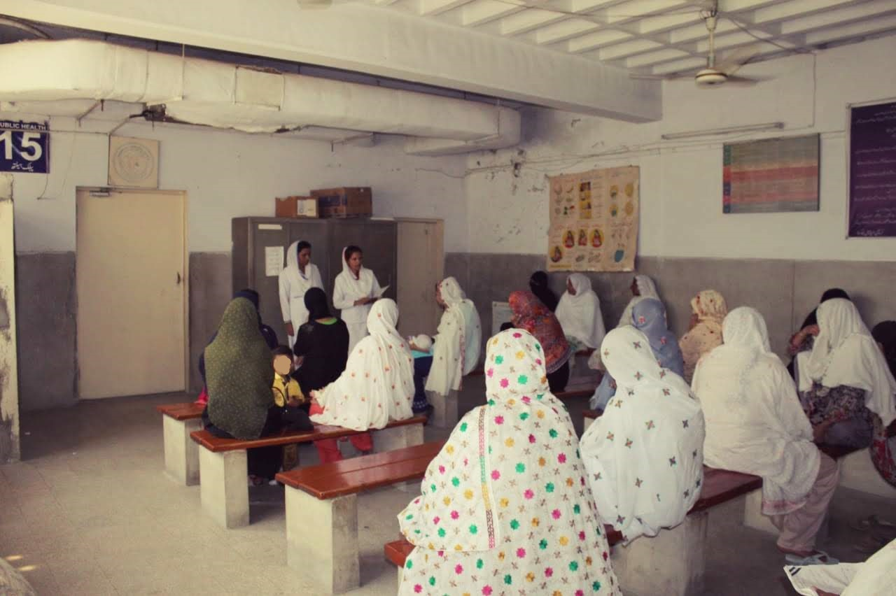 Women sit in a room at the Christian Hospital Taxila to learn about family planning.