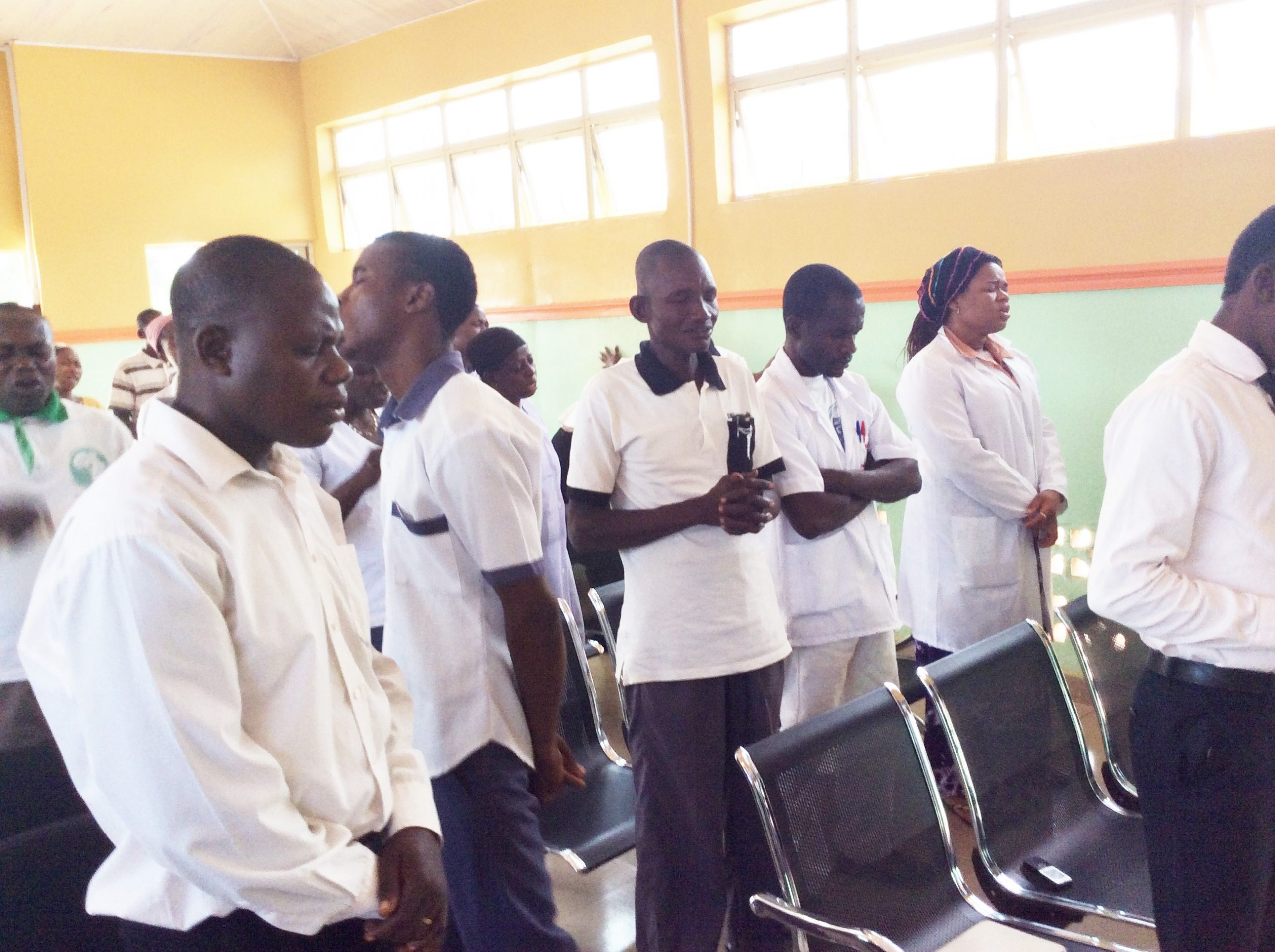 Health Team Members in Daily Morning Prayer Devotion.