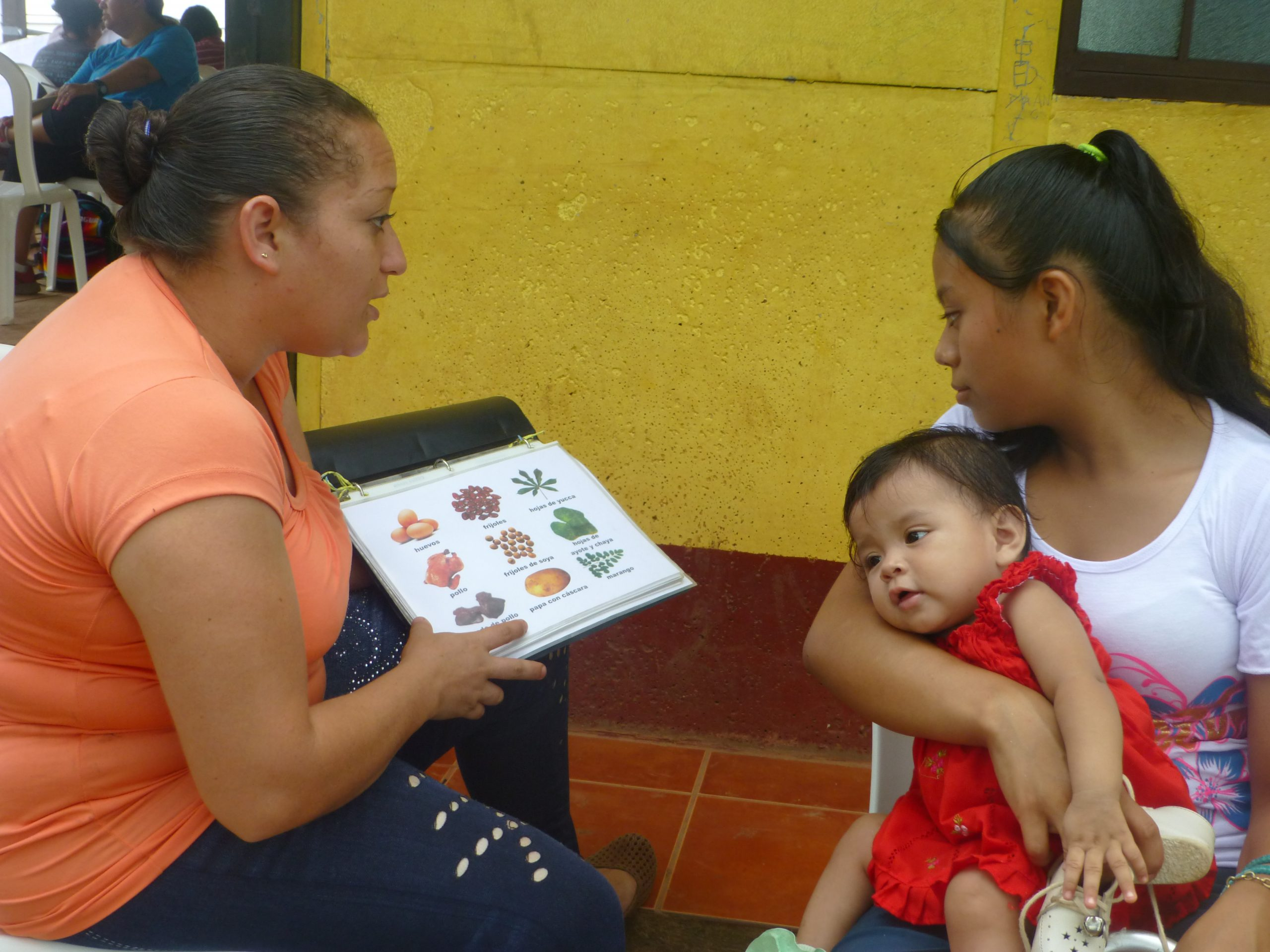 A community health worker shows health education information to a mother with a young child.