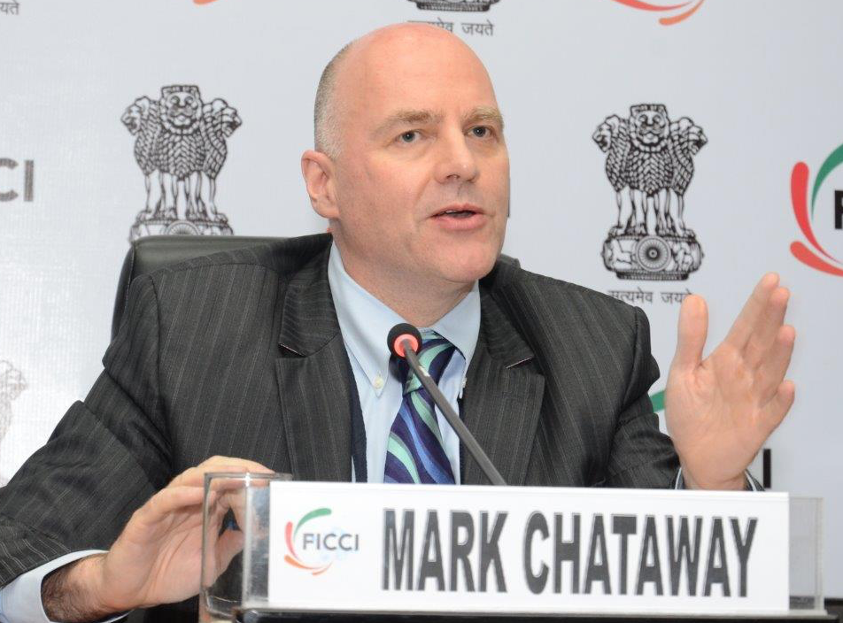 Mark Chataway presents at the FICCI panel on health and vaccines