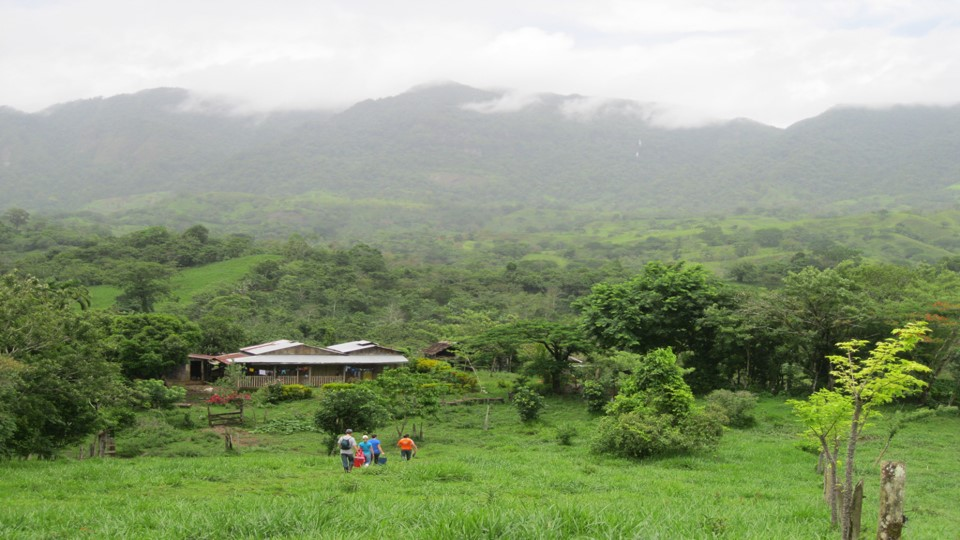 A scene from rural Nicaragua with mountains in the background.