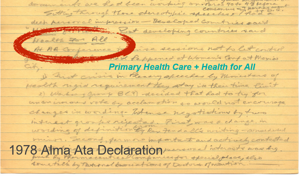 Text of the Alma Ata Declaration with Health for All Highlighted