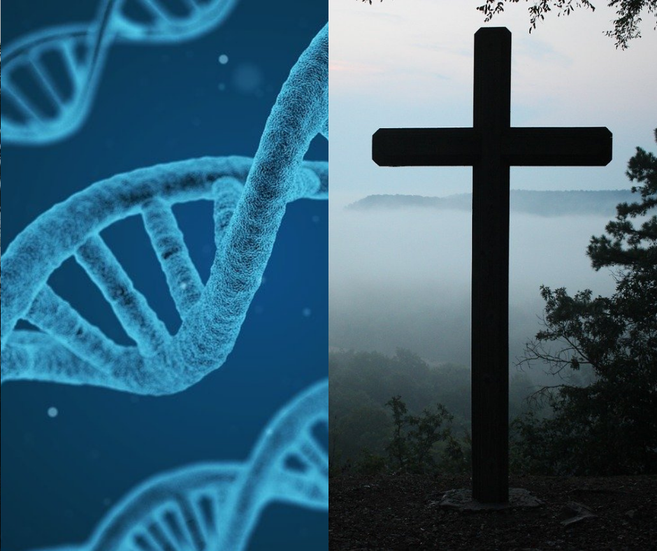 DNA juxtaposed with a cross in front of a foggy area