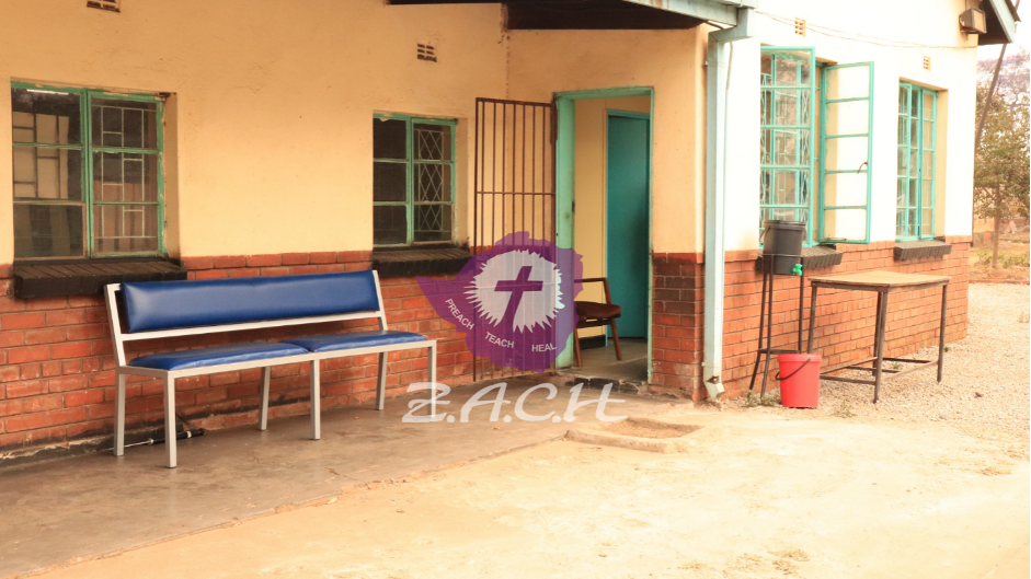 The outside of a clinic at a church in Zimbabwe.
