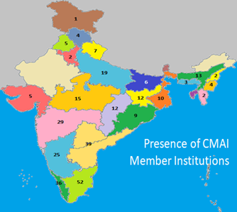 Map of India with the number of CMAI health facilities in the Indian states.
