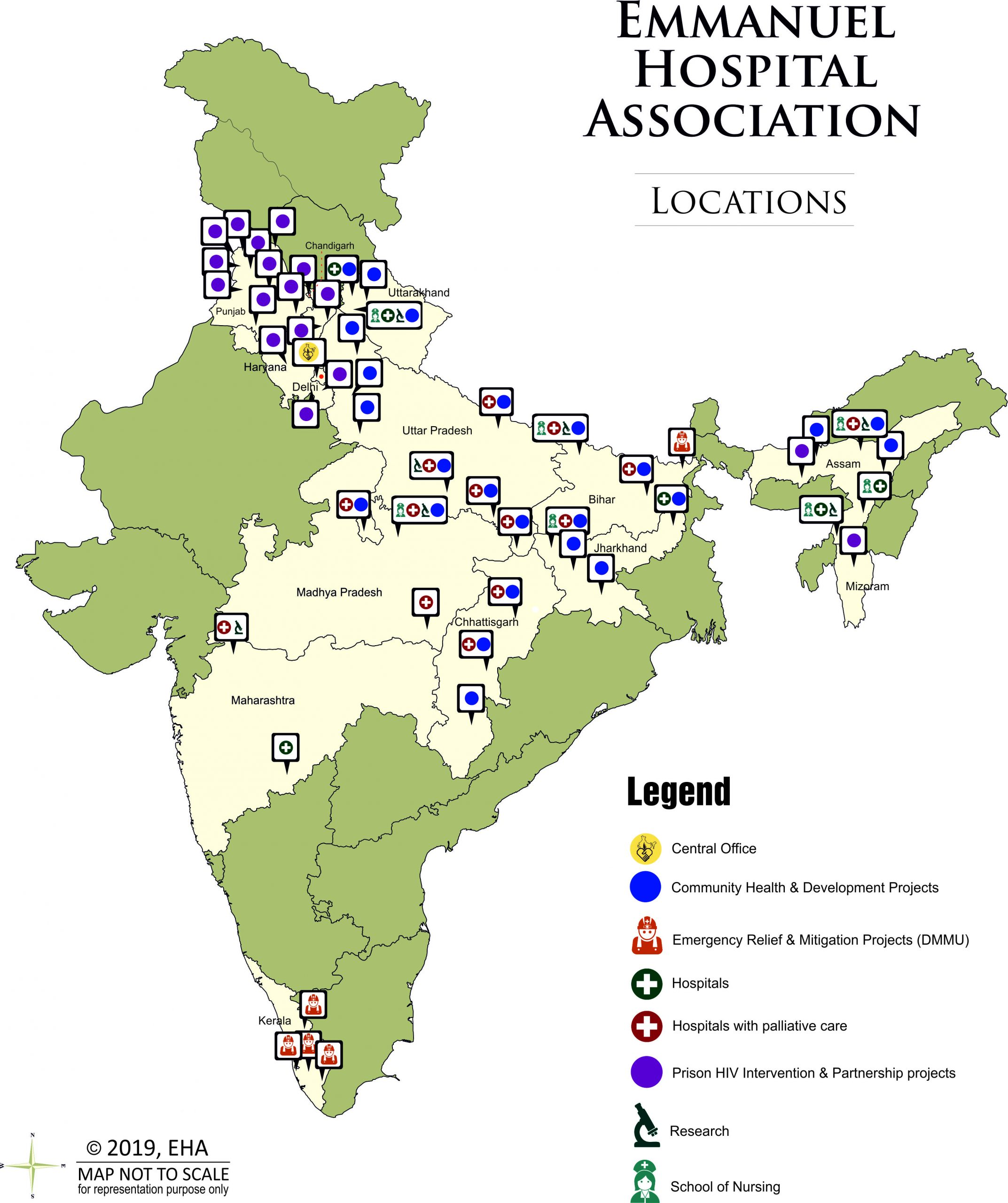 A map of India displays health project of Emmanuel Hospital Association in the country.